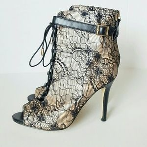Shoe Dazzle open toe lace up ankle booties